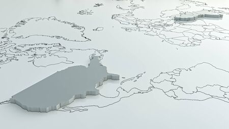 United States and the Middle East on the world map - 3d rendering