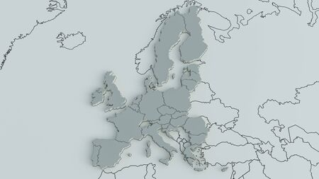 Europe on a world map with the borders of continents and countries - 3D Rendering Archivio Fotografico - 137957741