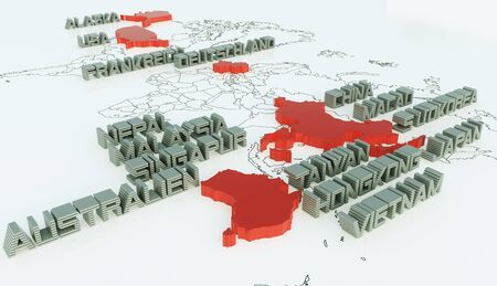 Spread of the  virus on a world map - ncov flu infection - 3D illustration Banque d'images
