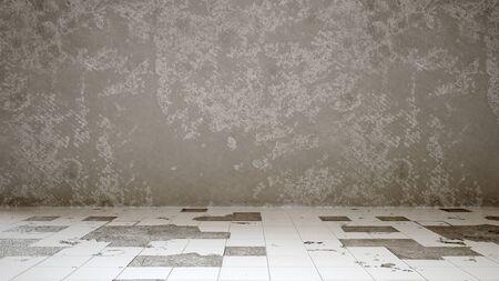 Room with broken tile floor and an unplastered wall - 3D rendering