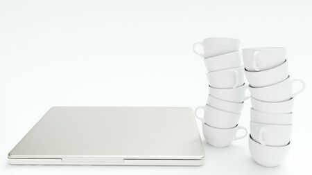 Many empty coffee cups stand around a laptop - 3D Rendering