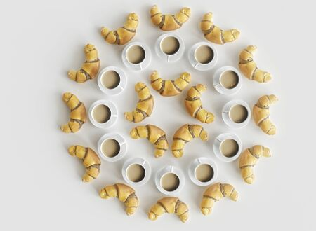 Croissants and coffee cups arranged in a circle - concept for a sweet breakfast - 3D rendering
