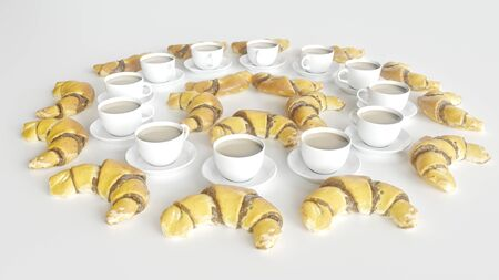 12 cups of coffee and croissants arranged in a circle - 3D rendering