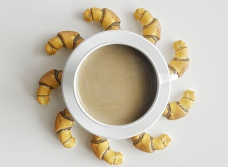 Croissants arranged around a cup of coffee - 3D rendering