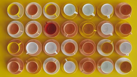 Many colorful cups on yellow background -- 3D rendering Archivio Fotografico - 139675457