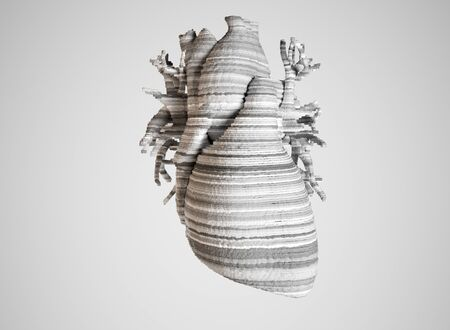 Bioprint of a heart, 3D printing of a heart, concept of the future in medicine -- 3D rendering
