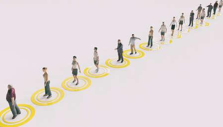 Social distancing at corona times - 3D Rendering