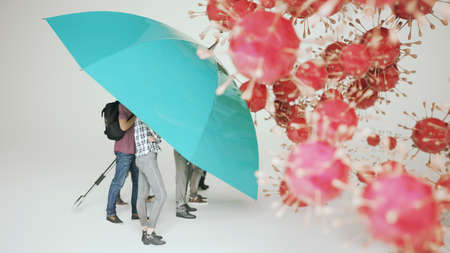people protect themselves from coronaviruses - 3D illustration