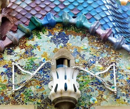 Modernist building detail in Barcelona