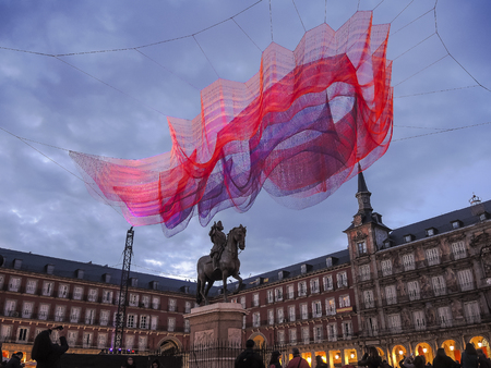 sculpture located in the center of the main square of the city of Madrid Stok Fotoğraf