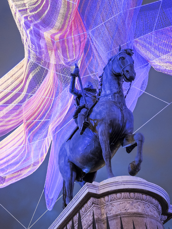 sculpture located in the center of the main square of the city of Madrid 写真素材