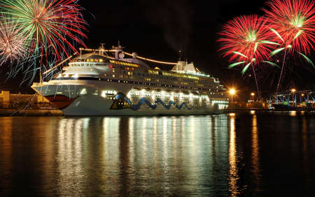 passenger ship: Double exposures. Ship and fireworks Stock Photo