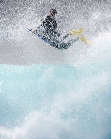 Bodyboard surfing. Big wave and water drops Stock Photo - 2675934