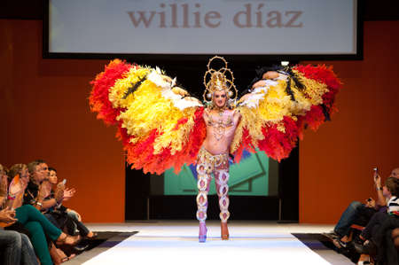 CANARY ISLANDS - 29 OCTOBER: Model on the catwalk wearing carnival costume from designer Willie Diaz during Carnival Fashion Week October 29, 2011 in Canary Islands, Spain