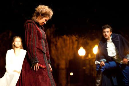 CANARY ISLANDS-OCTOBER 27: Actors Nati Vera (l), Guasimara Correa (m) and Ruben Dario (r) acting in Desmontando a Don Juan October 27, 2011 in Canary Islands, Spain Editorial
