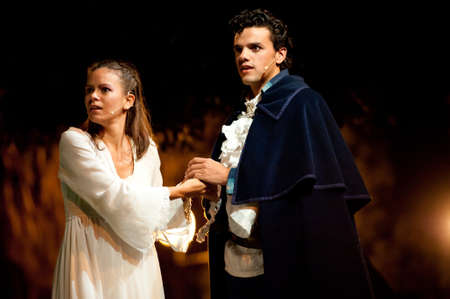 CANARY ISLANDS-OCTOBER 27: Actors Nati Vera (l) and Ruben Dario (r) acting in Desmontando a Don Juan,   based on Don Juan Tenorio written by Jose Zorrilla, October 27, 2011 in Canary Islands, Spain Editorial