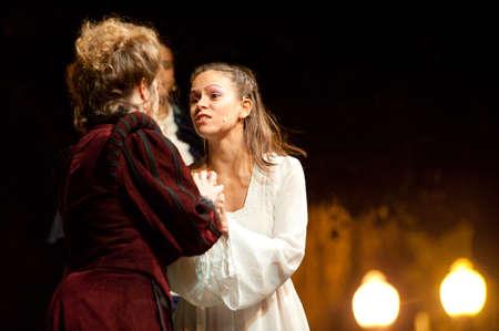 CANARY ISLANDS-OCTOBER 27: Actors Guasimara Correa (l) and Nati Vera (r) acting in Desmontando a Don Juan, based on Don Juan Tenorio written by Jose Zorrilla, October 27, 2011 in Canary Islands, Spain