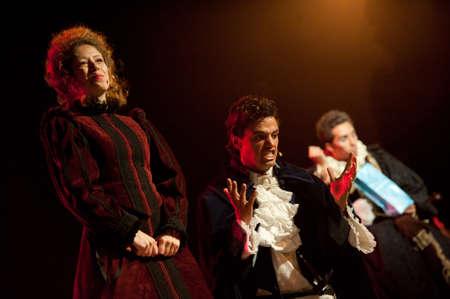CANARY ISLANDS-OCTOBER 27: Actors Guasimara Correa (l), Iriome del Toro (m) and Mingo Arvila (r) acting in Desmontando a Don Juan October 27, 2011 in Canary Islands, Spain Editorial
