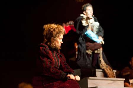 CANARY ISLANDS-OCTOBER 27: Actors Guasimara Correa (l) and Mingo Arvila (r) acting in Desmontando a Don Juan, based on Don Juan Tenorio written by Jose Zorrilla, October 27, 2011 in Canary Islands, Spain