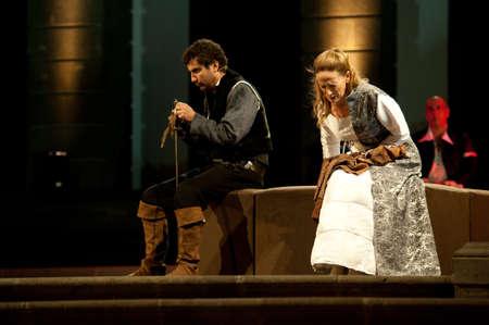 CANARY ISLANDS-NOVEMBER 3: Karmele Aramburu (r) and Roberto Perez (l), from Spain, acting in Margarita la Tornera written by Jose Zorrilla, November 3, 2011 in Canary Islands, Spain