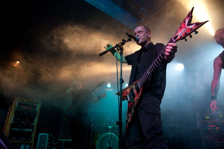 hardrock: CANARY ISLANDS – DECEMBER 2: Singer and guitarist Anders Moen, from the Norwegian band Forgery, performing onstage during Hard & Heavy Meeting December 2, 2011 in Canary Islands, Spain  Editorial