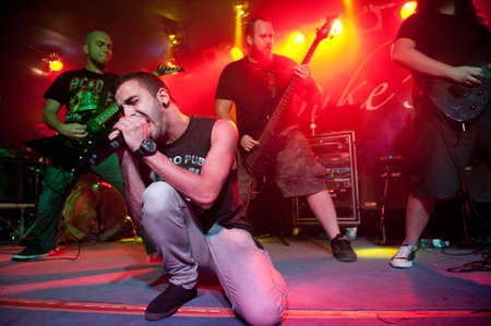 CANARY ISLANDS – DECEMBER 2: Singer Kevin Falcon in front, from the Spanish band An Endless Path, performing onstage during Hard & Heavy Meeting December 2, 2011 in Canary islands, Spain  Editorial