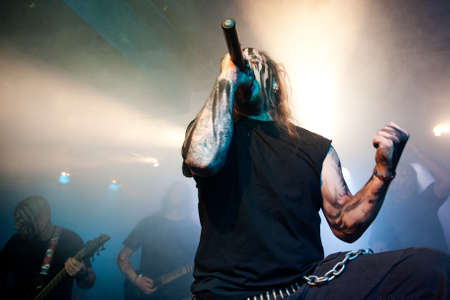 onstage: CANARY ISLANDS – DECEMBER 2: Singer Kenneth Liliegren in front, from the Norwegian band Mecalimb, performing onstage during Hard & Heavy Meeting December 2, 2011 in Canary islands, Spain  Editorial