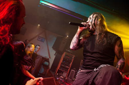 CANARY ISLANDS – DECEMBER 2: Singer Kenneth Liliegren in front, from the Norwegian band Mecalimb, performing onstage during Hard & Heavy Meeting December 2, 2011 in Canary islands, Spain Stock Photo - 11414419