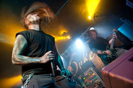 hardrock: CANARY ISLANDS – DECEMBER 2: Kenneth Liliegren(l) and Songwriter Ole Olsen(r), from the Norwegian band Mecalimb, performing onstage during Hard & Heavy Meeting December 2, 2011 in Canary islands,Spain