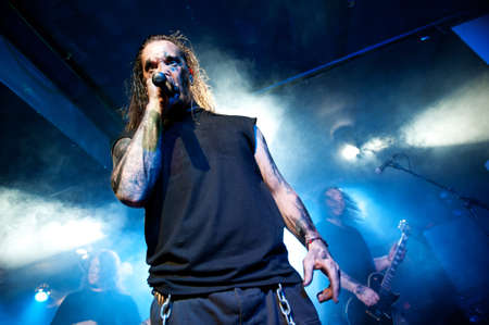 CANARY ISLANDS – DECEMBER 2: Singer Kenneth Liliegren in front, from the Norwegian band Mecalimb, performing onstage during Hard & Heavy Meeting December 2, 2011 in Canary islands, Spain