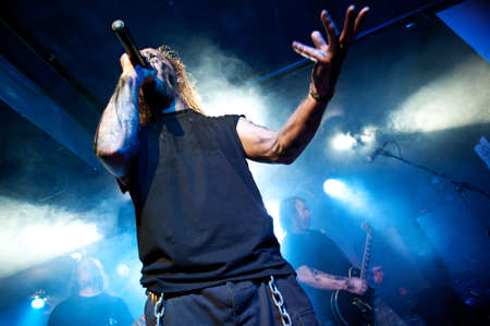 CANARY ISLANDS – DECEMBER 2: Singer Kenneth Liliegren in front, from the Norwegian band Mecalimb, performing onstage during Hard & Heavy Meeting December 2, 2011 in Canary islands, Spain Stock Photo - 11414412