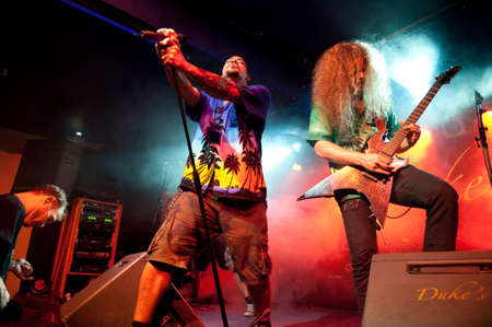 onstage: CANARY ISLANDS Ð DECEMBER 3: Singer Maurice Adams(l) and Damage Karlsen(r), from the Norwegian band Breed, performing onstage during Hard & Heavy Meeting December 3, 2011 in Canary islands,Spain