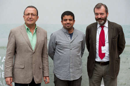 cinematographer: LAS PALMAS, SPAIN-MARCH 20:Film maker Ahmad Abdalla(m) from Cairo, Claudio Utrera(l) and Ricardo Martinez(r), during LPA International Film Festival on March 20, 2012 in Las Palmas, Spain