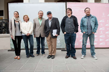identified: LAS PALMAS, SPAIN-MARCH 20: Vicente Aranda(m-r) and Claudio Utrera(m-l), with identified members of the Jury, during LPA International Film Festival on March 20, 2012 in Las Palmas, Spain