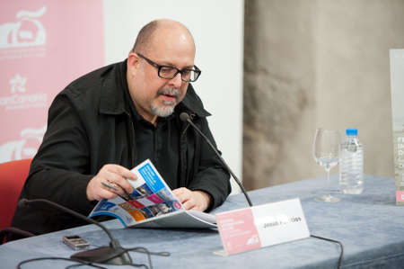 LAS PALMAS, SPAIN–MARCH 22:Writer Jesus Palacios, from Madrid, also know for his film criticism, during press meeting at LPA International Film Festival on March 22, 2012 in Las Palmas, Spain