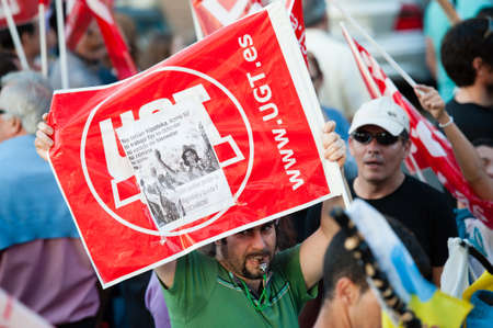 LAS PALMAS, SPAIN-MARCH 29: Unidentified workers protesting against new labor reforms and austerity cuts, during the Spanish general strike 29-M on March 29, 2012 in Las Palmas, Spain