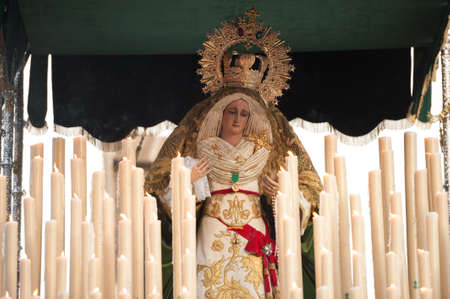palm sunday: LAS PALMAS, SPAIN-APRIL 2: The float of Virgin Mary, during Palm Sunday marching procession on April 2, 2012 in Las Palmas, Spain