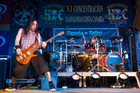 CANARY ISLANDS, SPAIN-MAI 5: Guitarist Alvaro Tenorio(l) and Paco Sanchez(r) from Hamlet, from Madrid, perform during Harley Davidson MCs celebration on Mai 5, 2012 in Canary Islands, Spain Stock Photo - 13575982