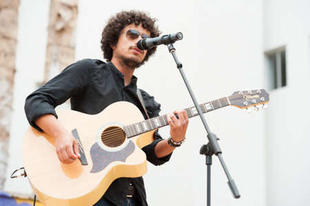LAS PALMAS, SPAIN-APRIL 13: Singer and guitarist Said Muti, from Canary Islands, perform onstage during a charity for Sahara on April 13, 2012 in Las Palmas, Spain