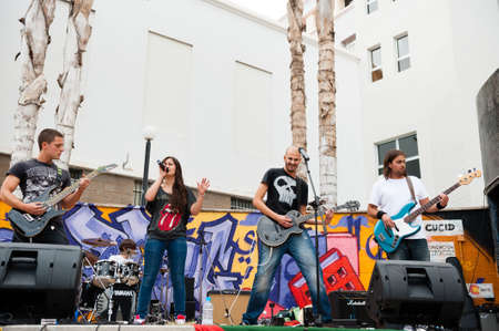 LAS PALMAS, SPAIN-APRIL 13: Unidentified musicians from the band Wings of Volund, all from Canary Islands, perform during a charity for Sahara on April 13, 2012 in Las Palmas, Spain