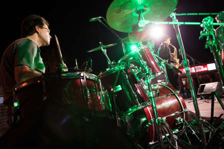onstage: CANARY ISLANDS, SPAIN MAY 18: Luismi Fernandez drummer in The Mars Cats, from Gran Canaria, perform onstage during Condenados Rock on May 18, 2012 in Canary Islands, Spain