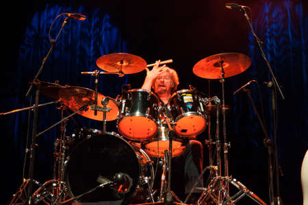 ted: CANARY ISLANDS-SPAIN MAY 31: Gerry McAvoys Band Of Friends, from Ireland, drummer Ted McKenna onstage during tribute to Rory Gallagher May 31, 2012 in Canary Islands, Spain