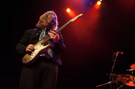 onstage: CANARY ISLANDS-SPAIN MAY 31: Gerry McAvoys Band Of Friends, from Ireland,  guitarist Marcel Scherpenzeel onstage during tribute to Rory Gallagher May 31, 2012 in Canary Islands, Spain