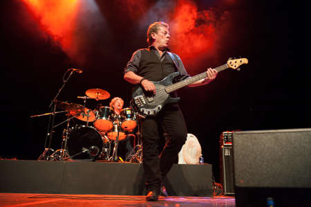 onstage: CANARY ISLANDS-SPAIN MAY 31: Gerry McAvoys Band Of Friends, from Ireland, Ted McKenna (l) and Gerry McAvoy (r) onstage during tribute to Rory Gallagher May 31, 2012 in Canary Islands, Spain