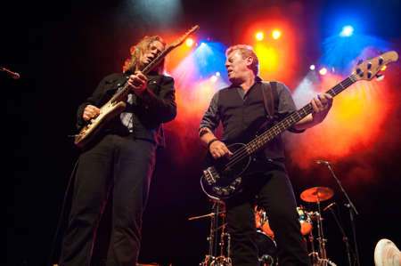 CANARY ISLANDS-SPAIN MAY 31: Gerry McAvoys Band Of Friends, from Ireland, Marcel Scherpenzeel (l) and Gerry McAvoy (r) onstage during tribute to Rory Gallagher May 31, 2012 in Canary Islands, Spain