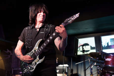 onstage: CANARY ISLANDS - SPAIN JUNE 1: Fastest guitarist of all time Michael Angelo Batio (MAB), from Chicago, onstage during A tribute to Rock Guitar 2012 European Tour June 1, 2012 in Canary Islands, Spain Editorial