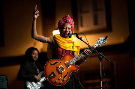 onstage: CANARY ISLANDS - JULY 8  Fatoumata Diawara singer and guitarist from Paris, performing onstage during Festival Canarias Jazz   mas July 8, 2011 in Las Palmas, Canary Islands, Spain Editorial