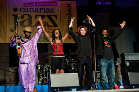 CANARY ISLANDS - JULY 8  The band saying farewell during concert with Fatoumata Diawara from Paris, onstage during Festival Canarias Jazz   mas July 8, 2011 in Las Palmas, Canary Islands, Spain