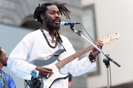 CANARY ISLANDS - JULY 7: Jean Louis Boissy (NayaBand), born in Senegal, now living in Canary Islands, performing onstage during Festival Canarias Jazz July 7, 2011 in Las Palmas, Canary Islands, Spain