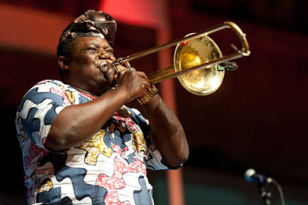 CANARY ISLANDS - JULY 8: Ahouandinou W. Martial from Gangbe Brass Band, from Cotonou-Benin in Africa, performing onstage during Festival Canarias Jazz July 8, 2011 in Las Palmas, Canary Islands,Spain